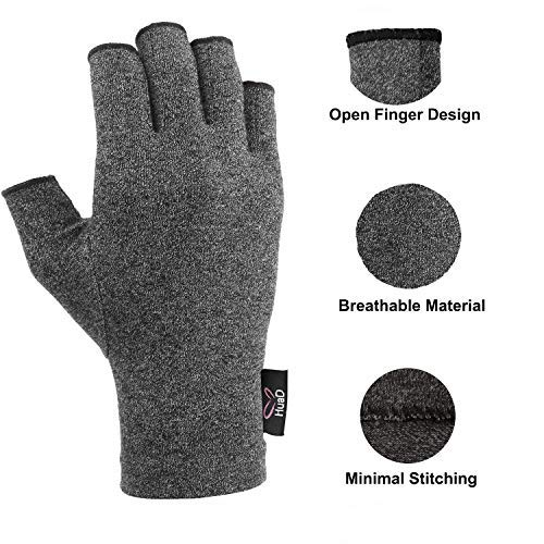 Arthritis Gloves - 2 Pairs Compression Gloves for Women and Men, Fingerless Design to Relieve Pain from Rheumatoid Arthritis and Osteoarthritis