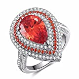Caperci Sterling Silver Cubic Zirconia and Pear Cut Created Ruby Halo Ring