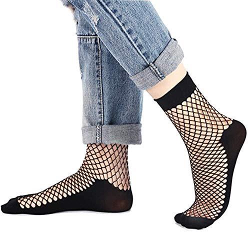 Bkvava Women's Sexy Short Ankle High Mesh Fishnet Socks 5 Pack Black