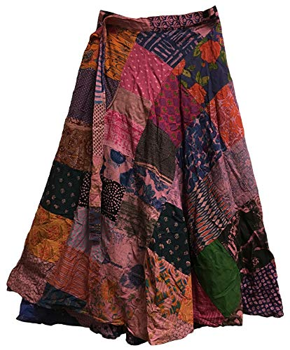 Yoga Trendz Missy Plus Vintage Ethnic Bohemian Cotton Patchwork Wrap Around Maxi Long Skirt (Red Tones)