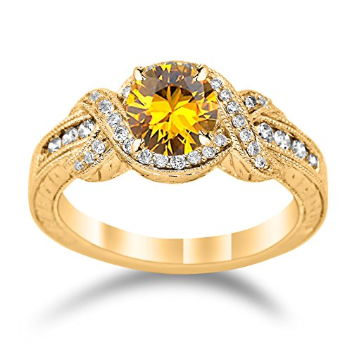 14K Yellow Gold Twisting Channel Set Knot Diamond Engagement Ring with a 1.5 Carat Citrine Heirloom Quality Center ()