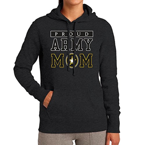 Adult's Proud Army Mom Black Hoodie (Large)