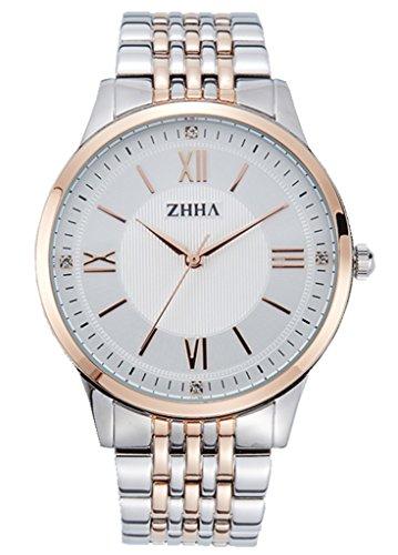 ZHHA Men's 040 Luxury Quartz White Dial Rose Gold Stainless Steel Bracelet Wrist Watch Waterproof