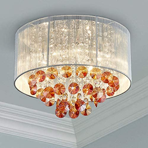 Bestier Modern Crystal Raindrop Drum Chandelier Lighting Flush Mount LED Ceiling Light Fixture Lamp for Dining Room Bathroom Bedroom Livingroom 6 E12 LED Bulbs Required Diameter 16 inch Height 12 inch