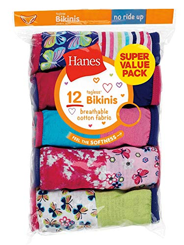 Hanes Girls 12-Pack Tagless Assorted Prints & Solids Bikini Briefs (6)