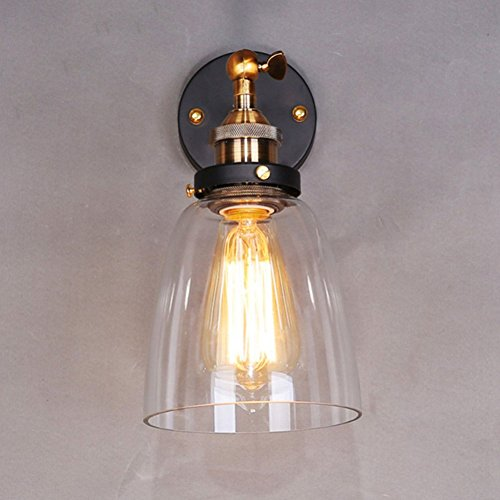 Adjustable Industrial Wall Sconce Vintage Wall Lamp Glass Outdoor Wall Light Antique Balcony Edison Bulb Lamps - Diamond Tiffany Single Light