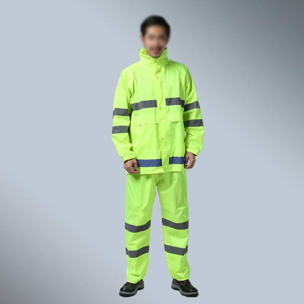 YANIGU Impermeable Traje Adulto Al Aire Libre Equitación Reflexivo Impermeable Dividido, Pantalones De Lluvia, Poncho De Senderismo Unisexo Verde,S [Clase de eficiencia energética A]