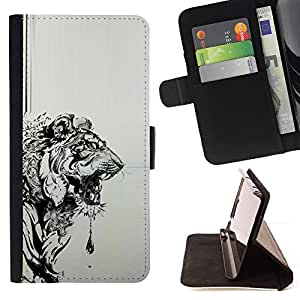 For HTC One Mini 2/ M8 MINI Tiger Grey Black Drawing Painting Art Style PU Leather Case Wallet Flip Stand Flap Closure Cover