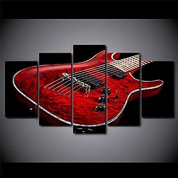 WNIUN ART Imprimir imágenes HD de lienzo de pared Marco Arte 5 piezas de música de guitarra eléctrica roja pinturas carteles Modular Salón decoracion,tamaño ...