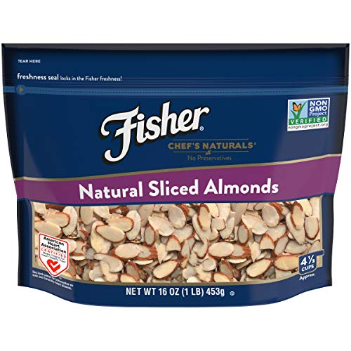 FISHER Chef's Naturals Sliced Almonds, No Preservatives, Non-GMO, 16 -