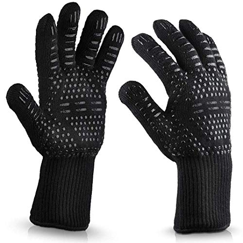 Lily-Li 1 Pair Heat Resistant Protective Gloves for Hair Straightener Curling Tongs, Cooking Baking Grilling Oven Mitts (Black, OneSize)