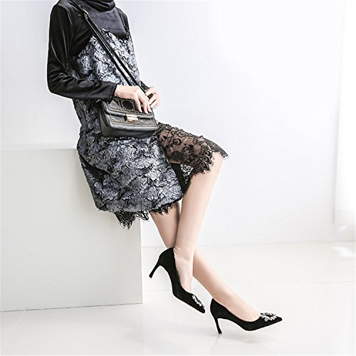Punta Delle Eleganti Fibbia Rainstar Vestito Donne Indicati Delle Scarpe Tacchi Sottile Pompe Alti Blu XwUxwCqta
