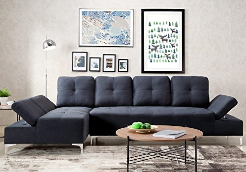 Harper Bright Design Sectional Sofa Set Living Room Sofa Corner sofa (Dark Blue)