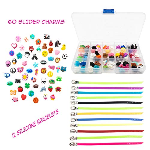 (FROG SAC 60 PCs Slider Charms and 12 PCs Adjustable Silicone Belt Bracelets/Wristbands Kit - Assorted Colors - Great for DIY, Jewelry Making, Personalized Kids Birthday Party Favors,, Stockings)
