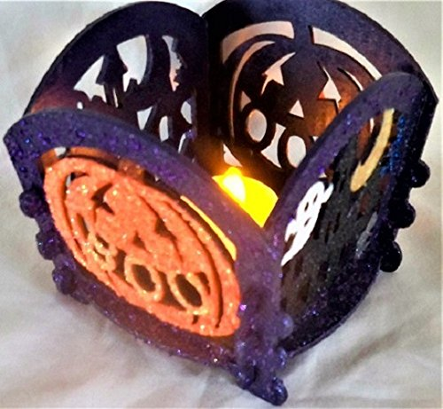 SPOOKY NITE LITE - Handmade, Halloween, Jack O Lantern, Pumpkin, Ghosts, Moon, Decorative, Hand Painted, Decoration, (Lantern Moon Baskets)