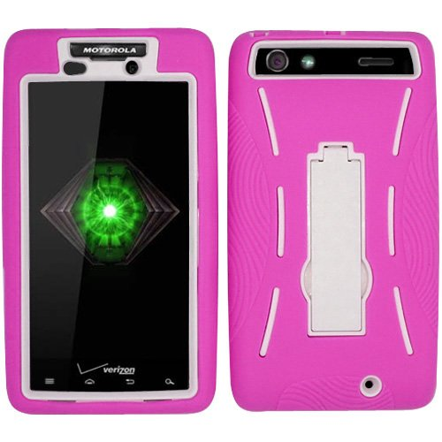 Hot Pink White HyBrid HyBird Rubber Soft Skin - Cell Phone Covers Razor Max