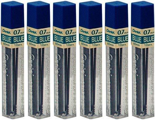 6 Tubes Pentel Ppb7 Blue .7mm Lead 72 Sticks of Blue Lead