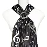 ii Scarf & Scarf Clip- Music Notes & Lines on Black PLUS Clear Round Buckle Slide