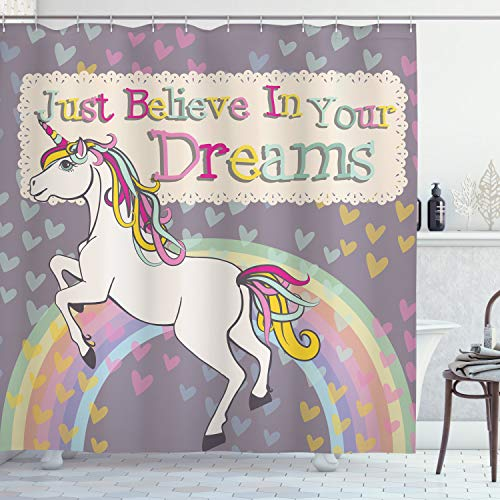 Ambesonne Feminine Shower Curtain, Unicorn with Believe in Your Dreams Words Illustration, Cloth Fabric Bathroom Decor Set with Hooks, 70 Long, Beige Lilac