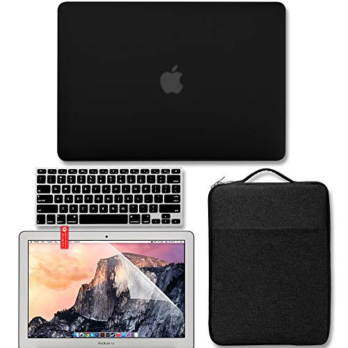 GMYLE MacBook Air 13 Inch Case Bundle Older Version Compatible A1369 / A1466 2010-2017 Release NO Touch ID, Hard Plastic Matte Shell, Protective Sleeve, Keyboard Cover & Screen Protector - Black