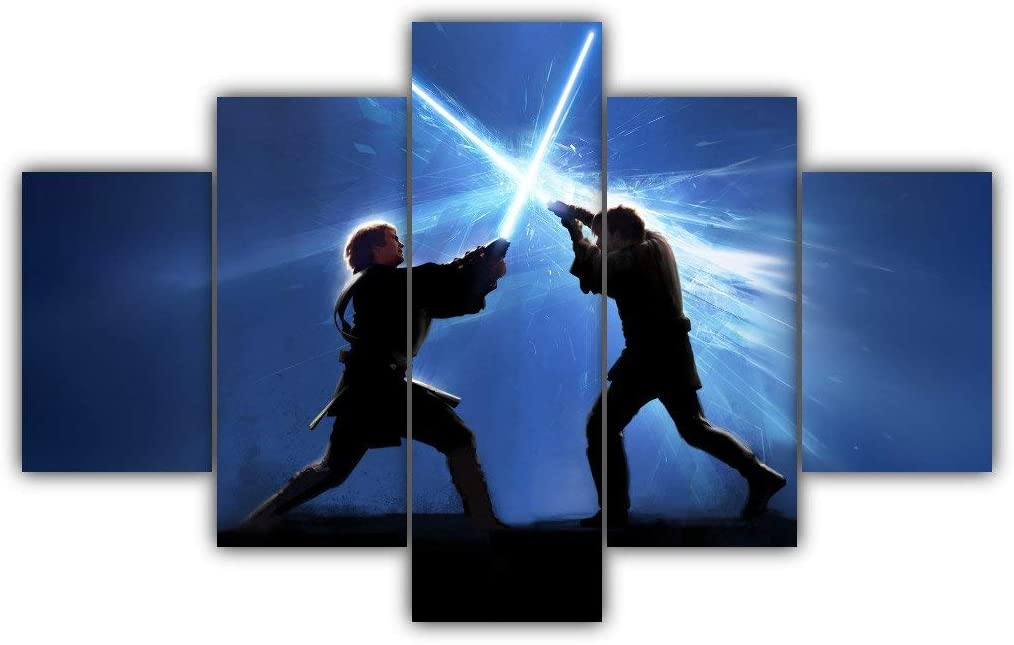 Amazon Com 5 Panels Anakin Vs Obi Wan Multi Canvas Art Star Wars Darth Vader Skywalker Dark Side Light Jedi Force Sith Lord Kenobi Duel On Mustafar Framed Ready To Hang Wall Poster
