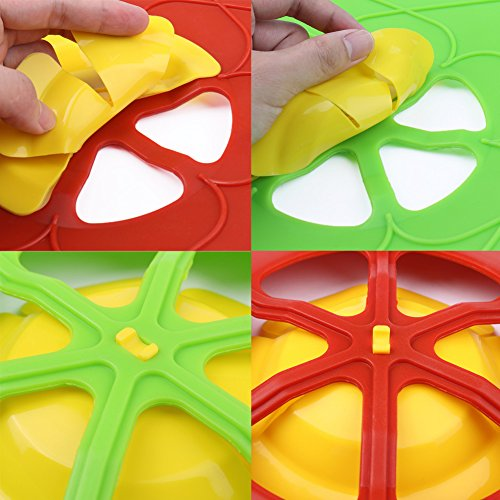 AUANDYU 2 X Spill Stopper Lid Cover And Spill Stopper, Boil Over Safeguard,Silicone Spill Stopper Pot Pan Lid Multi-Function Kitchen Tool (Green And Red) by AUANDYU (Image #6)