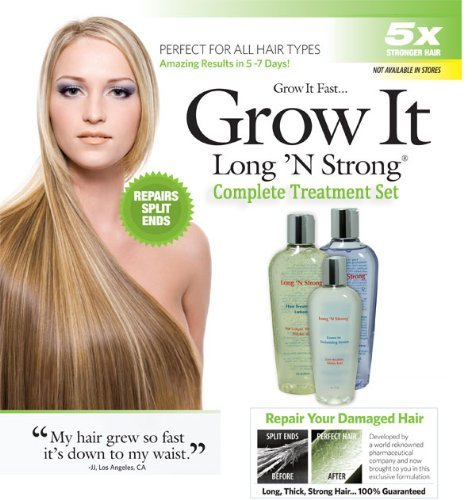 Long 'N Strong - Complete Treatment Set Lotion, Shampoo and Texturizing Serum Longer, Thicker Hair Split End Repair Split End Treatment by Rush Industries, Inc.