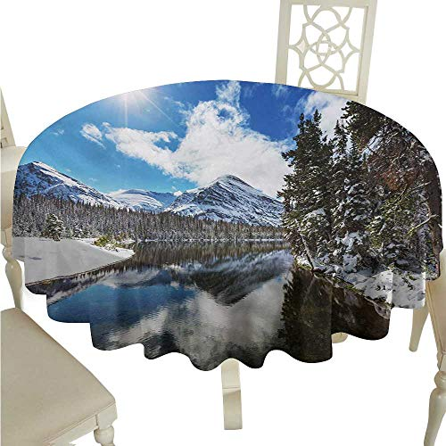 Round Tablecloth Plaid Winter,Tranquil View of Glacier National Park in Montana Water Reflection Peaceful,Brown Blue White D54,for Bistro Table