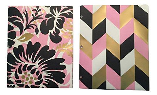 (Carolina Pad Studio C Set of 2 Deluxe Poly Folders ~ Put it in Neutral (Floral Delight, Chevron)