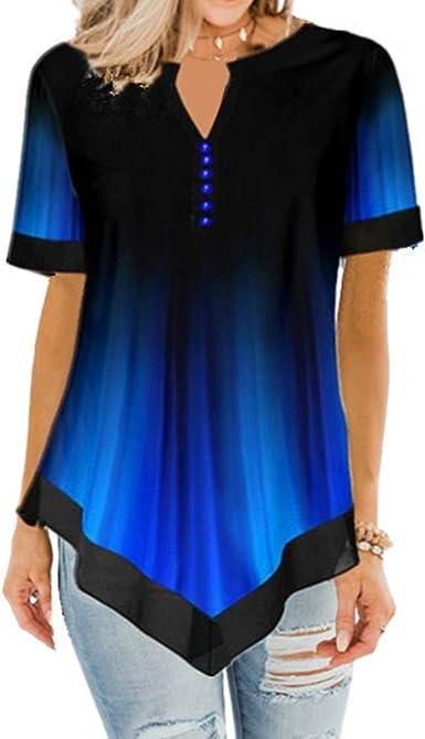 Camiseta De Manga Corta De Verano con Cuello Redondo Y Estampado En Color Degradado De Mujer Suelta: Amazon.es: Ropa y accesorios