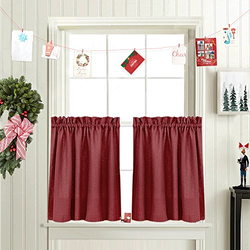 Tier Curtains for Kitchen 36-inch Small Privacy Semi Sheer Textured Half Window Curtains (72-inch Wide, Burgundy Red, Set of 2)