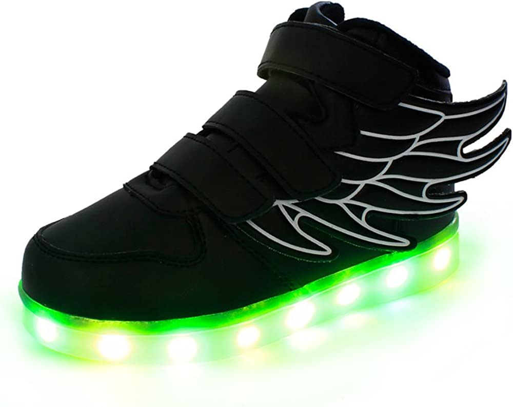 SEPTEE Youths High Top USB Charging Flying Wing LED Glowing Shoes Flashing Sneakers
