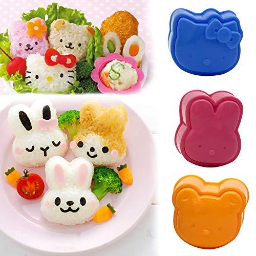 KathShop 3Pcs Cute Cartoon Sushi Nori Rice Mold Decor Cutter Bento Maker Sandwich DIY Tool Kitchen Accessories 2D