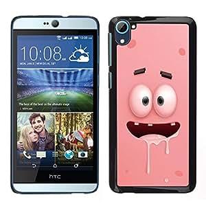 HTC Desire 826 dual Único Patrón Plástico Duro Fundas Cover Cubre Hard Case Cover - Pink Cartoon Character Eyes Teeth