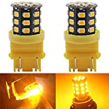 2-Pack 3056 3156 3057 3157 4157 Extremely Bright Amber / Yellow Non-Polarity LED Light 9-30V-DC, 2835 33 SMD Car Replacement For ail BackUp Bulb Brake Turn Signal Light Parking Lamps