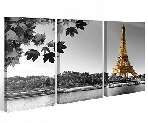 Leinwand 3 tlg. Paris Eiffelturm schwarz weiß Skyline Stadt Bild Wandbild 9A341 Holz - fertig gerahmt - direkt von Hersteller, 3 tlg BxH 120x80cm (3Stk 40x 80cm)
