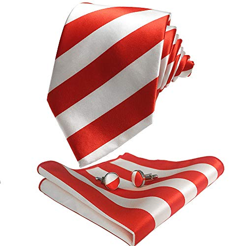 CANGRON Men Red White Stripes Tie Set Necktie with Pocket Square Cufflinks +Giftbox LST8DH