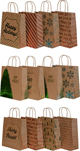 Kraft Holiday Gift Bags, foil hot-stamp designs, 12