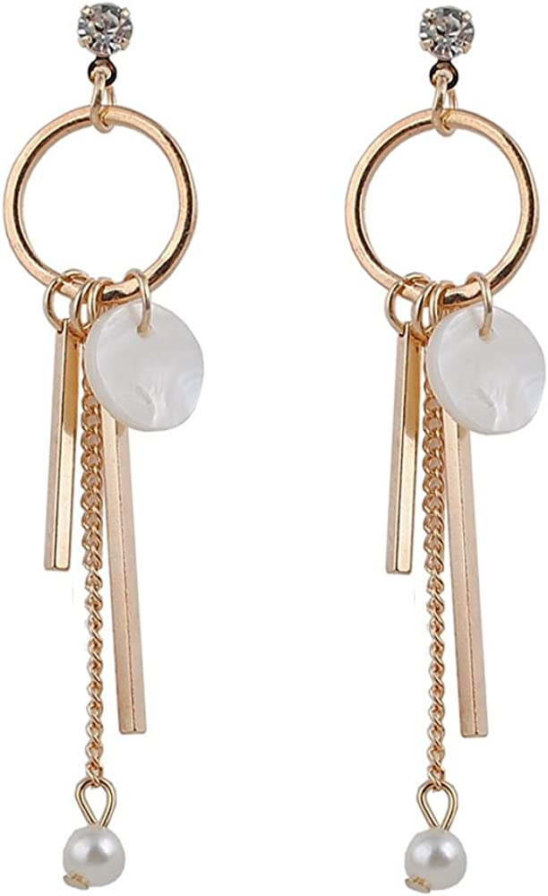 Pendiente de gota de moda para mujer Pendientes largos elegantes dorados Niñas Perla redonda geométrica Regalo de concha natural