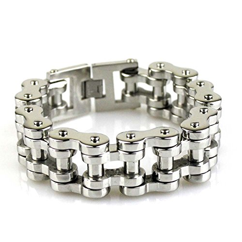 Felix Perry Men's Heavy Biker Motorcycle Chain Link Bracelet Stainless Steel Silver Polished 8.78 Inch - Polished Link Chain Bracelet