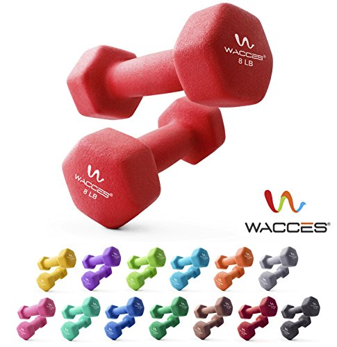 Wacces Neoprene Dipped Coated Set of 2 Dumbbells Hand Weights Sets Non Slip Grip 2 x 8 LB