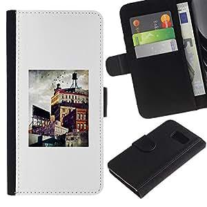 Billetera de Cuero Caso Titular de la tarjeta Carcasa Funda para Samsung Galaxy S6 SM-G920 / Architecture City Painting Art / STRONG
