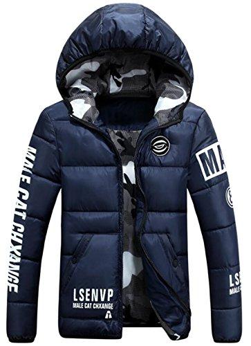 EKU Men's Athletic Warm Coat Winter Hooded Down Jackets Dark Blue US XXL