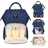 SUNVENO Diaper Bag Backpack Functional Baby Nappy Changing Bag with Insulated Pockets Waterproof Fabric Large Capacity (Navy)