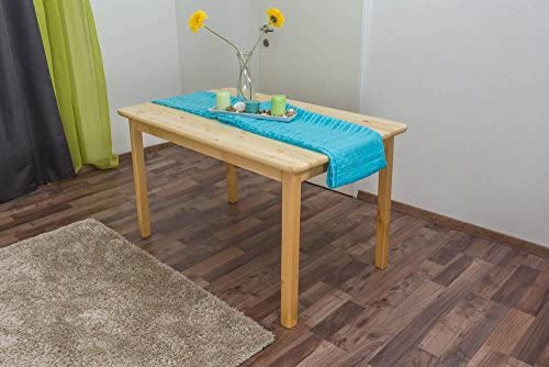Mesa 130 x 80 cm, madera maciza de pino), color: natural: Amazon ...