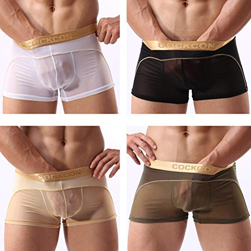 4 Pack of Men's Boxer Briefs See Through Panties Soft Underpants Men Sexy Trunks Mesh Underwear Shorts for Male (White-Black-Army Green-Skin, US Size M - Tag Asia Size XL)