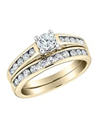 Diamond Engagement Ring and Wedding Band Set 1/2 Carat (ctw) in 10K Yellow Gold