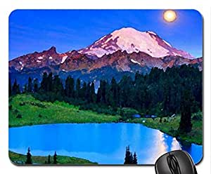 hidden lake under moonlight Mouse Pad, Mousepad (Lakes Mouse Pad, Watercolor style) by icecream design