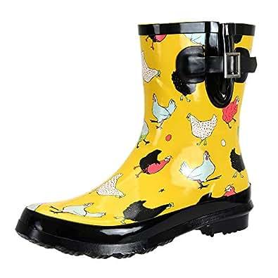 SheSole Women's Waterproof Rubber Gumboots Rain and Garden Boot Yellow AU 5