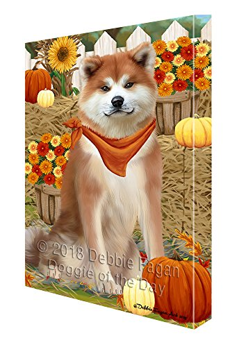 Fall Autumn Greeting Akita Dog with Pumpkins - fall wall decor